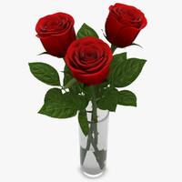rose red vase 3d max