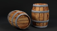 3d uv wooden barrel asset model