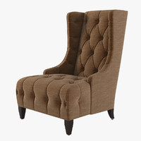 3d model celine tufted wing chair