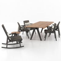 3d kettal vieques dining set model