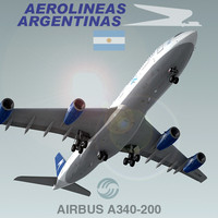 3d model airbus a340-200 aerolineas argentinas