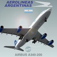 3d model airbus a340-200 aerolineas argentinas