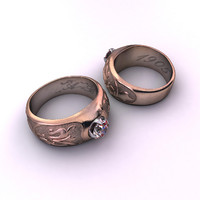 antique art nouveau ring 3d max