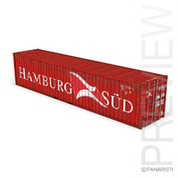 40ft shipping container hamburg 3d obj