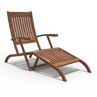 teak lounge chair 3d lwo