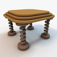 small coffee table 3d obj