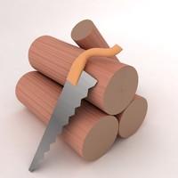 wood log 3d model