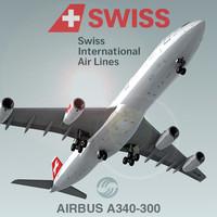 airbus a340-300 swiss c4d