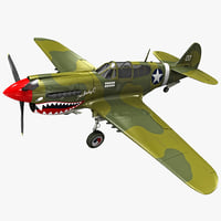 3ds max curtiss p-40 warhawk fighter