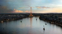 modeled eiffel tower sunset 3d max