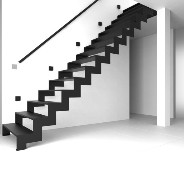 design stairs modeled ready 3d max - A modern Stairs – Model  Z_One (Fab. ready + BONUS)... by DesignThroughEngineering