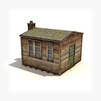 low-poly small wooden building 3ds