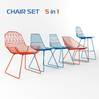 3ds max bend chairs set