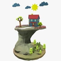 c4d cartoon landscape