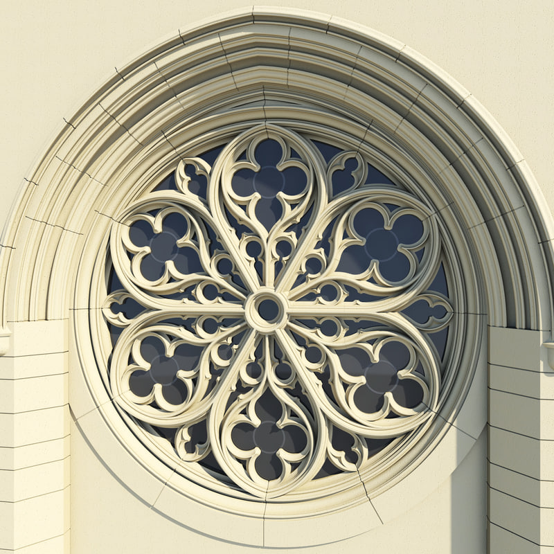 3d gothic rose window architectural model for Rose window design