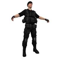 3d black soldier model