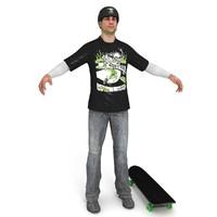 3d model skater skateboard ready