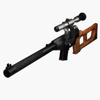 vss vintorez sniper rifle 3d max