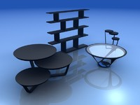3d set tables shelf