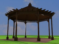gazebo wood 3d obj