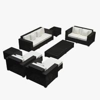 Garden furniture - Synthetic rattan sofa, loveseat, armchair, ottoman, coffee table