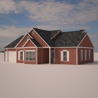 suburban single family house materials 3d model