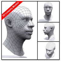 Low Poly African Male Head_set 01