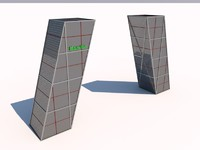gate towers kio madrid 3d c4d