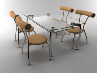 kitchen table chairs 3d model