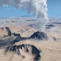 3d volcanic terrain vue model