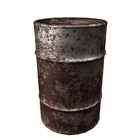 3d model of rusted oil drum