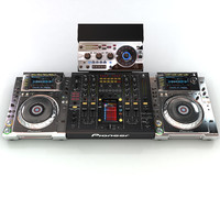 pioneer dj setup turntable 3d model