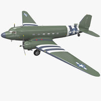 Military Transport Aircraft Douglas C-47 Skytrain Rigged