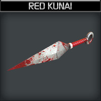 3d metallic kunai red model