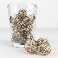 3d wicker balls realistic model