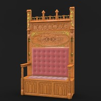 3d classical gothic bench model