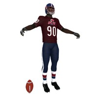 3d american football player model