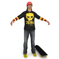 3d skater skateboard ready