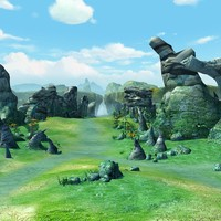Cartoon Valley Scene 02