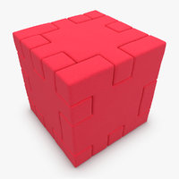 3d model of happy cube red