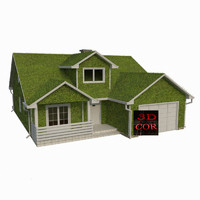 3d model abstract grass house