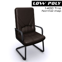 3d model leather arm chair