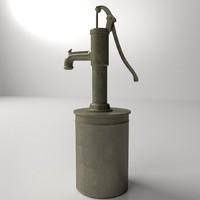 3d model vintage water pump