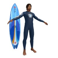 3ds max surfer surfing man