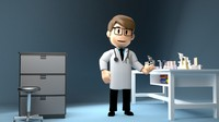 3d model cartoon doctor labs item
