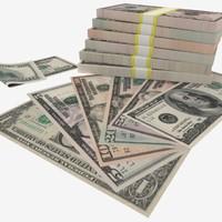 3d dollars banknotes - 1$ model