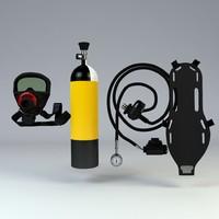 scuba aqualung 3d model