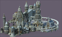 3d ancient city tower model