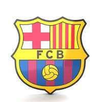 3d soccer barcelone shield