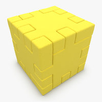 3d happy cube yellow
